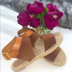Chloe suede/leather espadrille sandals.